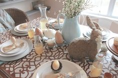 DIY Handcrafted Home Decor - Vintage Easter Spring Table Setting using Chez Sheik Moroccan Stencil painted on table top - Royal Design Studio