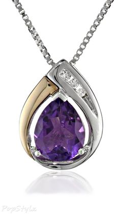 Silver & Gold Amethyst Pendant Necklace