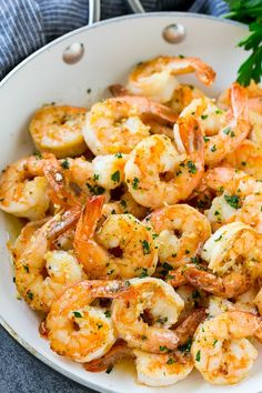 This easy garlic butter shrimp is succulent shrimp tossed in an easy garlic and lemon sauce. The perfect quick dinner or appetizer!