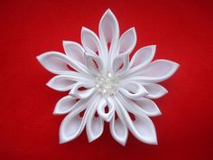 Snowflake Satin Kanzashi Flower Hair Clip Japanese by Ivanna, $20.00