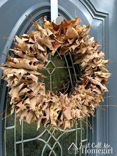 easy fall leaf wreath and free, crafts, wreaths Easy Fall Wreaths, Diy Fall Wreath, How To Make Wreaths, Yarn Wreaths, Floral Wreaths, Winter Wreaths, Spring Wreaths, Wreath Ideas, Summer Wreath