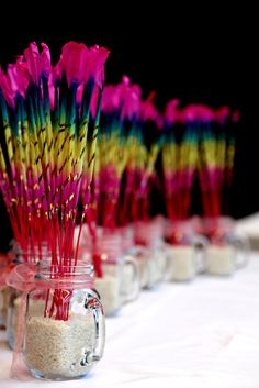 colorful wedding sparklers reception