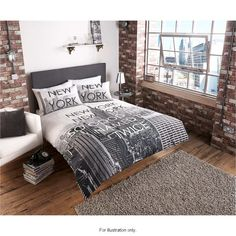 New York City Scene Double Duvet Set 50 Cotton Polyester Includes One Cover Two Pillow Case Scape