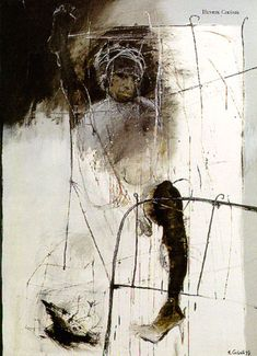 "Henryk Czesnik ""Widow""  Oil on linen. 200 m x130 cm  Private collection. Germany"