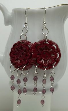Vintage OOAK burgundy plastic button earrings faceted glass beads eco-friendly