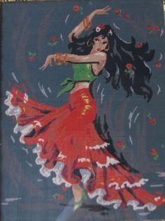 Gypsy Dance needlepoint picture by novaknata on Etsy, $160.00