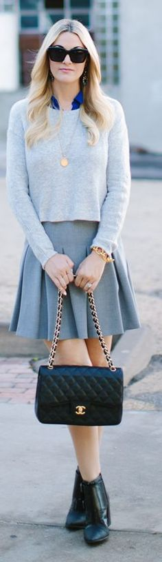 Grey Pleated Mini A-skirt by A Little Dash Of Darling