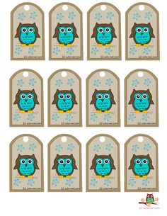 free owl printables | Free Printable Favor Tags with Cute Brown Owl and Flowers