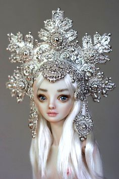Snowflake crown headdress -- Enchanted Dolls by Marina Bychkova (Canadian artist w/ Russian art influences - born in Siberia, Russia; 14yrs when emigrated)