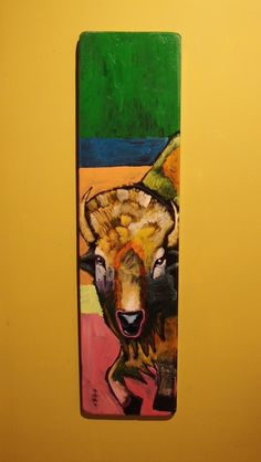 Leland Holiday, acrylic painting on wood, buffalo, bison, TG2-Leland205