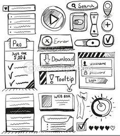 手绘矢量组的用户界面设计元素 — 图库插图 #15864561