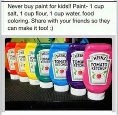 make your own paint! Love the ketchup bottles to store it.