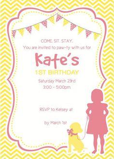 puppy birthday invitation kitten invitation pet party puppy, invitation samples