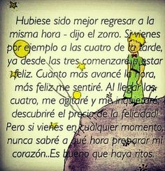 En cualquier momento, habrá felicidad Little Prince Quotes, The Little Prince, Book Quotes, Me Quotes, Motivational Quotes, Perfect Word, Pretty Quotes, Special Quotes, I Love Books