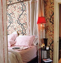 """Flowering Quince"" wallpaper from Clarence House. Photo by Gemma Costas, Domino, January/February 2006."
