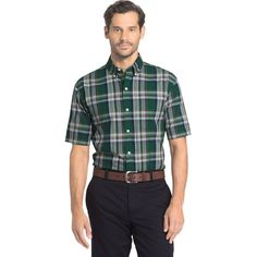 Big & Tall Arrow Plaid Button-Down Shirt, Med Green