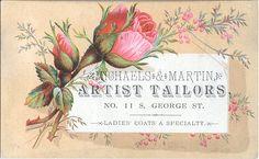 Vintage label ad with pink rose
