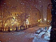 Noche Nevado, Cieszyn, Polonia foto a través de 3times1