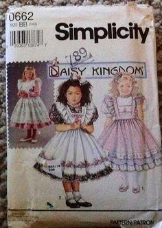 Simplicity 662 Girls size 5 6X Daisy Kingdom pattern Dress and pinafore