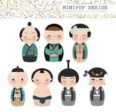 Set of Cute Japanese Male Kokeshi Characters - Printable Digital Clip Art
