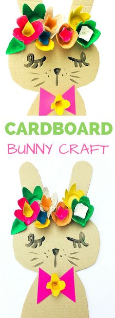 Recycled Bunny Cardboard Craft #kidscraft #eastercrafts #recycledcraft