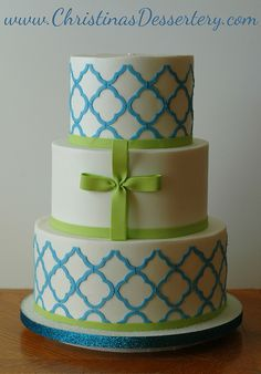 Modern graphics used for a fresh take on a boys Baptism/Christening cake.  #Modern
