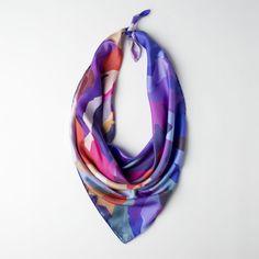 Mountain . Rainbow,  Silk Twill Scarf 90 x 90 cm