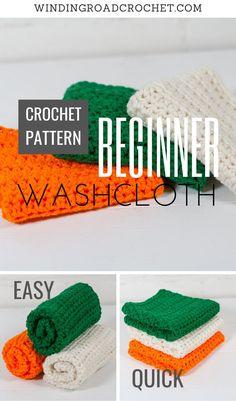 Easy Beginner Crochet Patterns, Easy Crochet Projects, Crochet For Beginners, Crochet Blanket Patterns, Crochet Crafts, Wash Cloth Crochet Pattern, Crochet Dishcloths Free Patterns, Dishcloth Crochet, Loom Crochet