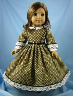 Your 18 Inch American Girl doll will look lovely in this 1860s-inspired day dress. The dress is fashioned of a gorgeous quilters cotton from