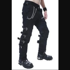 Men's Black Bondage Gothic Trousers with Buckle Straps