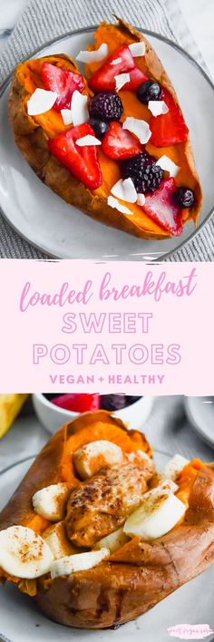 Vegan loaded breakfast sweet potatoes are super fun to customize with your favorite flavors, and great healthy, satisfying way to start the day! #veganbreakfast #breakfast #healthybreakfast #loadedsweetpotatoes #healthyrecipe #easyhealthyrecipe #easybreakfast #glutenfree #grainfree #veganbreakfastrecipe #healthyveganbreakfast Healthy Cookie Recipes, Vegan Recipes Easy, Healthy Baking, Vegan Desserts, Raw Food Recipes, Free Recipes, Vegan Snacks, Brunch Recipes, Vegan Breakfast Options