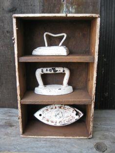 3 Antique Cast Iron Toy Sad Irons with Little Cubby Shelf White Milk Paint