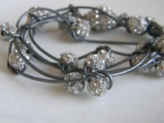 Rhinestone Crystal Pave Stack Beaded Metallic Silver Gray Leather Wrap Bracelet Necklace