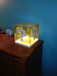 Mario lamp made out of IKEA Synas and Clear Ultra Cling Inkjet Vinyl.