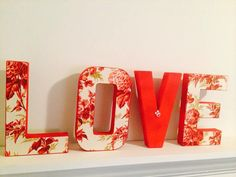 Letter Wedding Decor Valentine's Day by ArtTherapyStudio Fabric Covered Letters, Fabric Letters, 3d Letters, Letters And Numbers, Valentines Day Decorations, Wedding Decorations, Letter Standee, Valentine's Day Letter, Paper Mache Letters