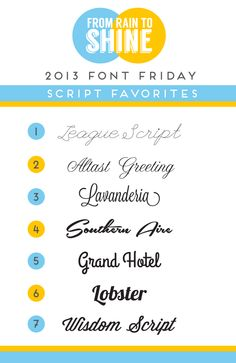 2013 Font Friday Recap (free fonts, type and typography script fonts)