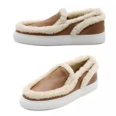 0b8cff9ef0787 Womens Trendy Fur Trim Slip-On Casual Shoes. Modische Schuhe ...