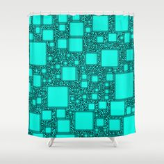 Electronics Blue Shower Curtain - $68.00 #showercurtain #bathroom #homedecor #turquoise #blue #squares #pattern