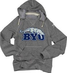 BYU Cougars Vintage Cotton-Blend Fleece Hooded Sweatshirt (Gray)