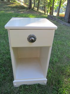 Simple nite stand, cottage chic w/pale yellow paint and new hardware