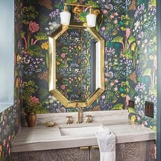 The Rabarber from Scandinavian Designers II is a show stopper. used the dark floral in this equally enchanting powder room Baby Bathroom, Office Bathroom, Small Bathroom, Downstairs Bathroom, Bathrooms, Bathroom Wallpaper, Wall Wallpaper, Bathroom Inspiration, Interior Design Inspiration