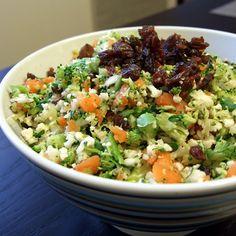Detox Salad: Broccoli, Cauliflower, Carrots, Sunflower seeds, raisins, parsley, lemon juice, salt, pepper, maple syrup.