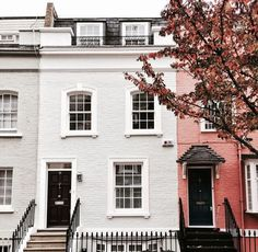Colourful terrace houses in London.