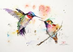 Items similar to BIRD Flock Watercolor Print, Bird Art Painting by Dean Crouser on Etsy Watercolor Hummingbird, Watercolor Bird, Watercolor Animals, Hummingbird Tattoo, Tattoo Bird, Tattoo Flowers, Simple Watercolor, Dragonfly Tattoo, Watercolor Canvas