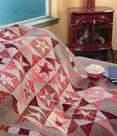 """Wish upon a (Crazy) Star quilt  So what's this """"Crazy"""" sewing about? Here's the process in a nutshell:  First you do a little a little stackin' and whackin' Then you do a little switchin' and sewin' And it's all a whole lotta quiltmakin' fun!"""