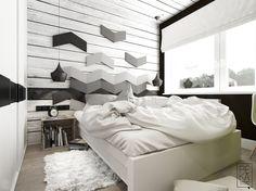 Drewno i oryginalna dekoracja ścienna w sypialni