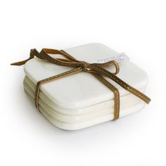 American Atelier Marble Coasters with Ribbon, White, Set of 4 >>> For more information, visit now : Kitchen Utensils and Gadgets