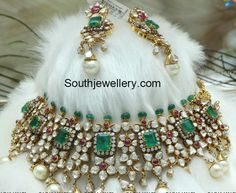Victorian jewellery inspired bridal necklace set in breathtaking design embellished with flat cut polki diamonds, square shaped Colombian emeralds Indian Wedding Jewelry, Bridal Jewelry, Gold Jewelry, Jewelery, Indian Bridal, Pakistani Bridal, Diamond Choker, Diamond Jewellery, Diamond Rings