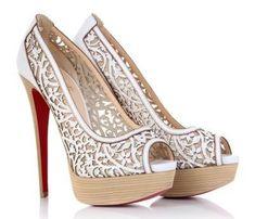 Chaussures à talon, couleur Blanche, ouverte devant