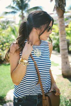 Bobeau Stripe Sleeveless Swing Top. David Yurman. Monogram necklace. Tory Burch. Summer Vacation Outfit Ideas.